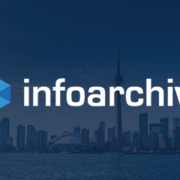 InfoArchive logo over Toronto skyline