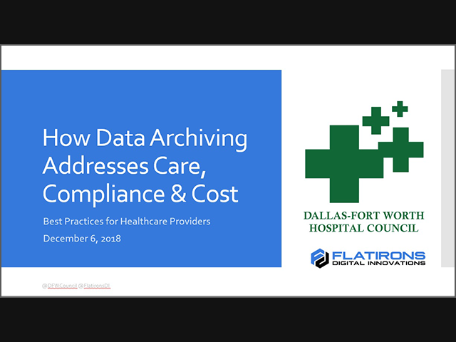 DFWHC Data Archiving Webinar Recording