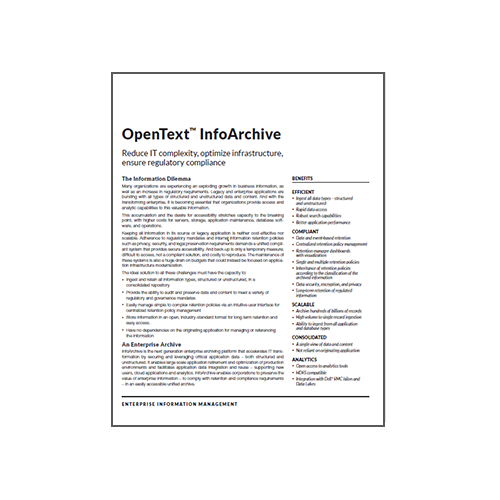 OpenText InfoArchive Data Sheet