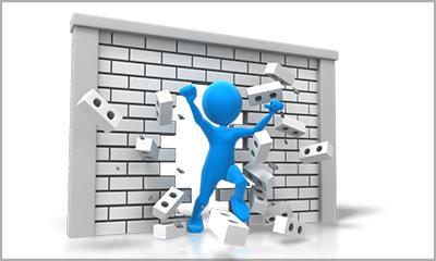 Illustration breaking through wall