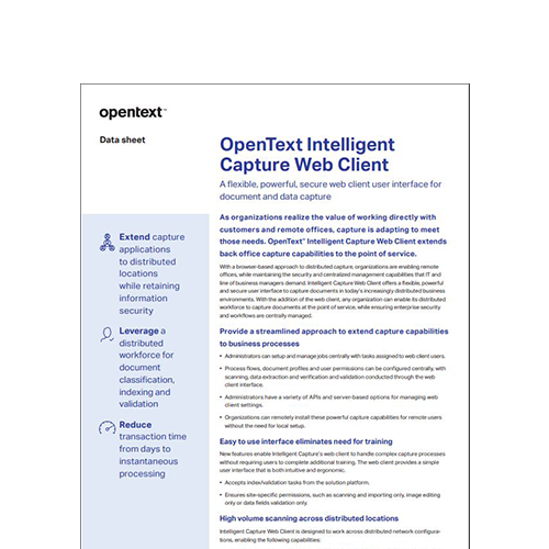 OpenText Intelligent Capture Web client thumbnail