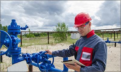 field engineer using mobile tablet